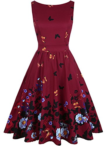 OWIN Women's 1950s Vintage Floral Swing Party Cocktail Dress Sleeveless -