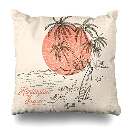 Ahawoso Throw Pillow Cover Hawaii Beach Surfboard Palms Sunset Beachvector Vintage Sea Tree California Drawing Surf Sketch Decorative Pillow Case 20x20 Inches Square Home Decor Pillowcase