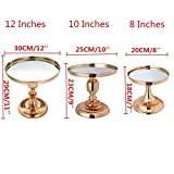 Antique Gold-Plated Mirror Cake Stand Round Cupcake Stands Metal Dessert Display Dessert Table Decoration (Available in 3 Sizes)