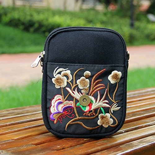 Flower Phone Style Purple Pouch Embroidered Small Circle Bag Bag Crossbody Body Shoulder Cross Bag Profusion Ethnic Womens wOzqtU