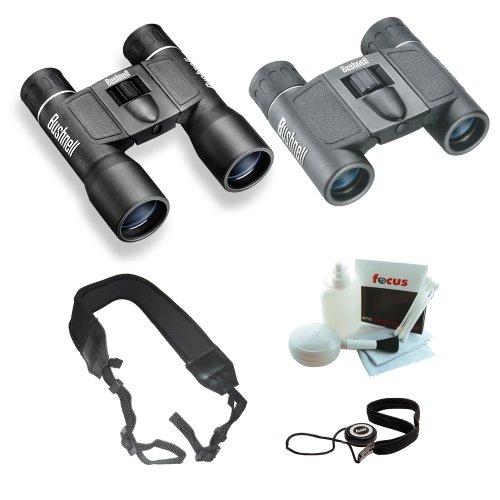 Cheap Bushnell Powerview 10×32 & 8×21 Roof Binocular Bundle w. Strap, Care Kit