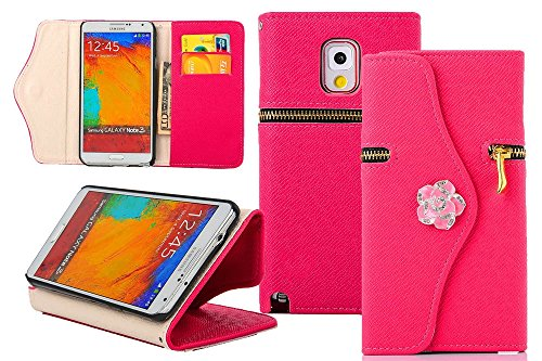 Note 3 Case, Galaxy Note 3 Case, Welity Rose Color Zipper Purse with Camellia Hook Wallet Leather Case Cover With Credit Card Slots & Money Holders for Samsung Galaxy Note 3 N9000 and one gift