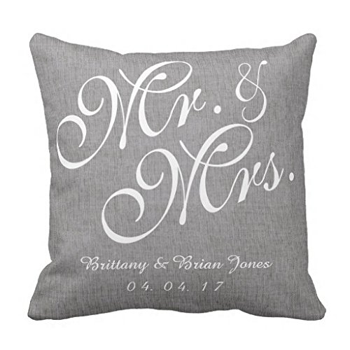 Gray White Linen Mr and Mrs Wedding Pillow Lpolouo