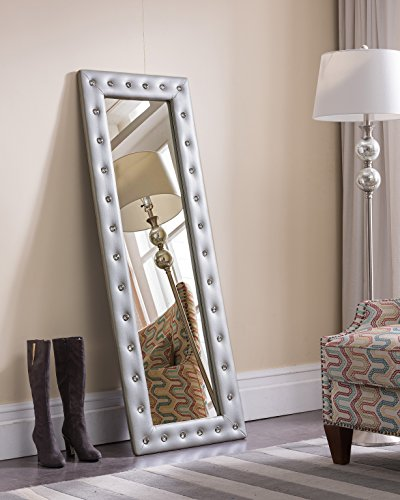 Kings Brand Furniture - Modern Upholstered Tufted Standing Floor Mirror, -
