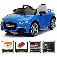 Voiture de sport électrique 12V pour enfant Audi TT RS Cristom® -Télécommande 2.4Ghz- Slot USB et prise MP3 - Licence Audi (Bleu)