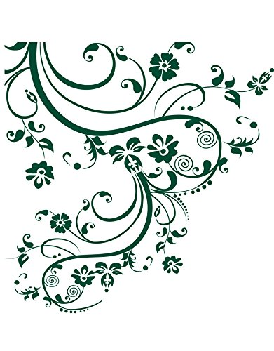 Forest Green Swirl Flower Floral Decal Design. Edge to Edge Decal. #262A (100