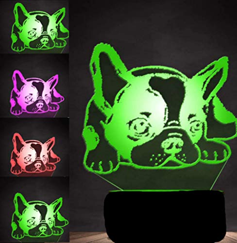 3D French Bulldog Dog Night Light Puppy Animal Table Lamp Decor Table Desk Optical Illusion Lamps 7 Color Changing Lights LED Table Lamp Xmas Home Love Brithday Children Kids Decor Toy Gift ()