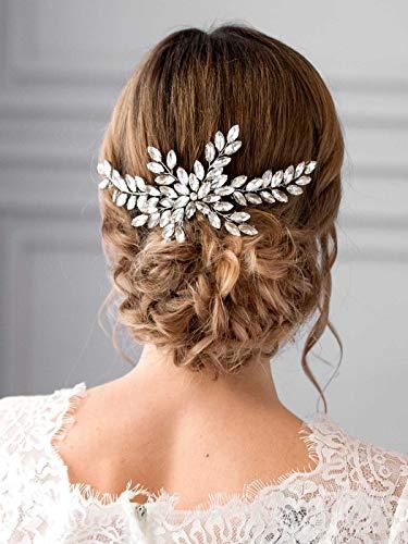 - Barogirl Wedding Rhinestone Hair Comb Silver Bridal Headpiece Floral Vintage BridalHairAccessoriesforBridesandBridesmaids