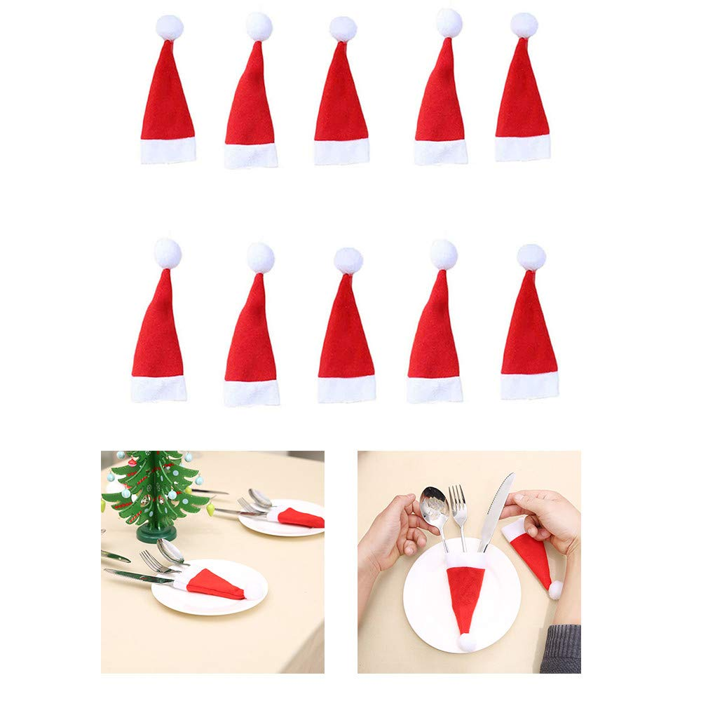 Ruhiku GW 1/5/ 10/12/ 30 PC Christmas Cutlery Holders Cute Decoration Set for Christmas Dinner Table, Mini Santa Christmas Hats for Dinner Table Cutlery Holders Red Santa Hats (10, Red)