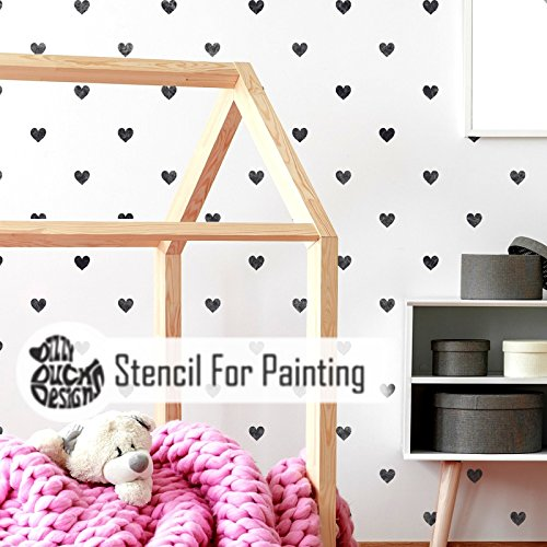 Polka Dot Heart Wall Floor Furniture Stencil for ()