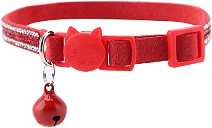 Amazon Com Cute Cartoon Cat Collars Colorful Bling Diamante Pu Leather Pet Dog Cat Reflective Buckle Quick Collar Necklace Necktie Safety Release Breakaway With Bells For Daily Party Photoshot Red S
