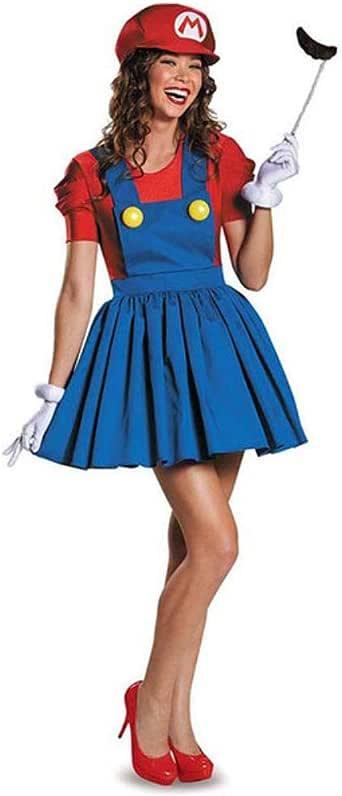 Halloween Super Mario Luigi Bros Costume Women Sexy Dress Plumber ...