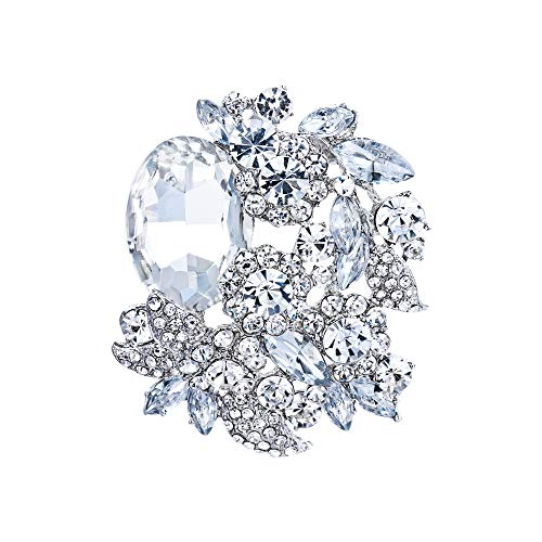 EVER FAITH Rhinestone Crystal Party Flower Leaf Vine Brooch Clear Silver-Tone