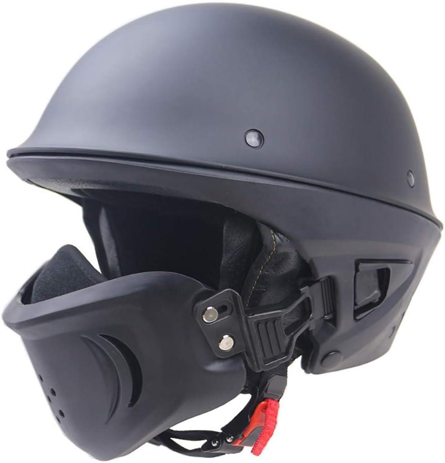 YHNMK Casco Protector Retro de Medio Casco,Casco de Moto Casco de Pícaro Certificado por Dot Detachable Mask Multi-Function Bicicleta Crucero