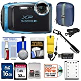 Fujifilm FinePix XP130 Shock & Waterproof Wi-Fi Digital Camera (Sky Blue) with 32GB Card + Battery + Cases + Float Strap + Selfie Stick + Kit