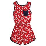 Beachcombers Girl's Tops Rayon/Spandex Anchor Romper Red/White Small