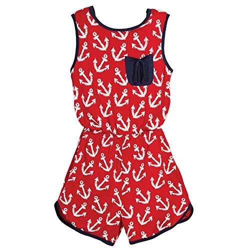 Beachcombers Girl's Tops Rayon/Spandex Anchor Romper Red/White Large by Beachcombers