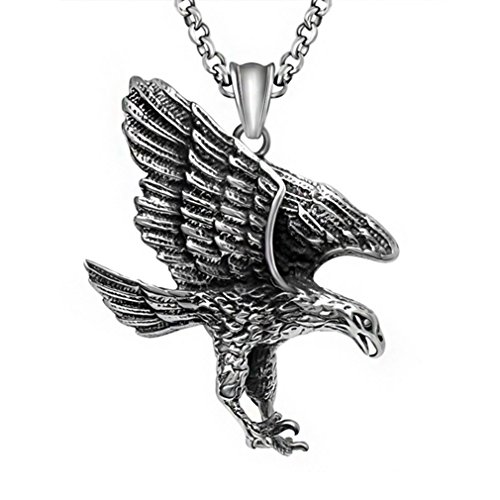 W-Q Mens Hip-Hop Funny Trendy Personality Eagle Titanium Steel Pendant Necklace Sautoir Halloween Jewelry(20