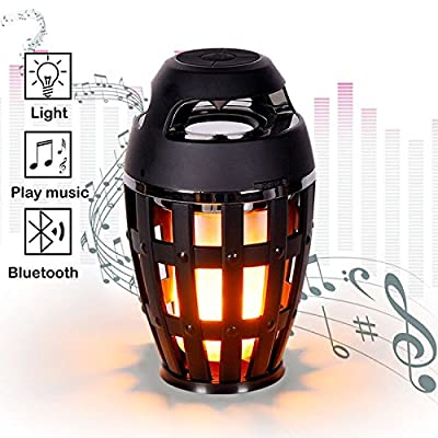 Led Flame Bluetooth Stereo Speaker, Portable Rechargeable Night Light with Smart Touch Control and HD Audio and Enhanced Bass for Outdoor Indoor Bedroom Living Room Bar Party Camping