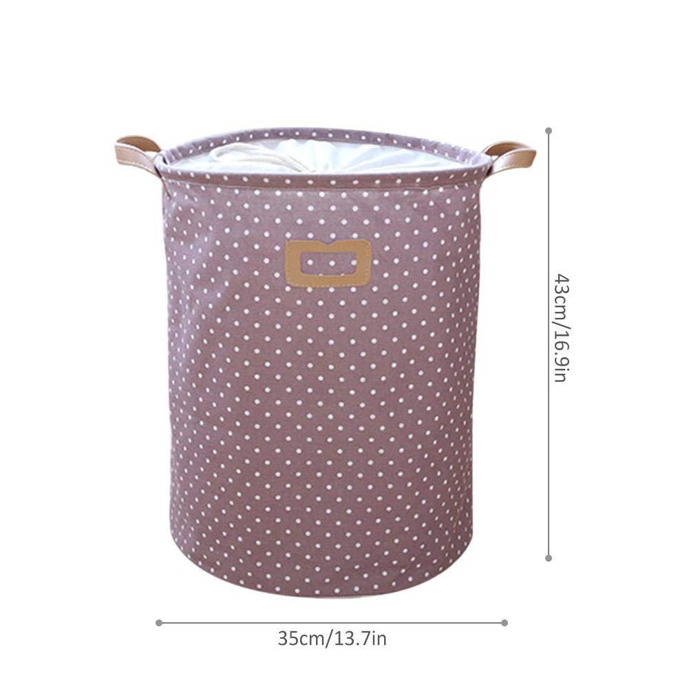 PE Pel/ícula impermeable Tela Cesto de lavander/ía plegable Cesto de almacenamiento de cubo con elegante dise/ño en lunares economical Wood.L Cesto de lavander/ía de gran tama/ño Mezcla de algod/ón y lino