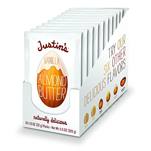 Vanilla Almond Butter Squeeze Packs by Justin's, Gluten-free, Responsibly Sourced, Pack of 10 (1.15oz each)