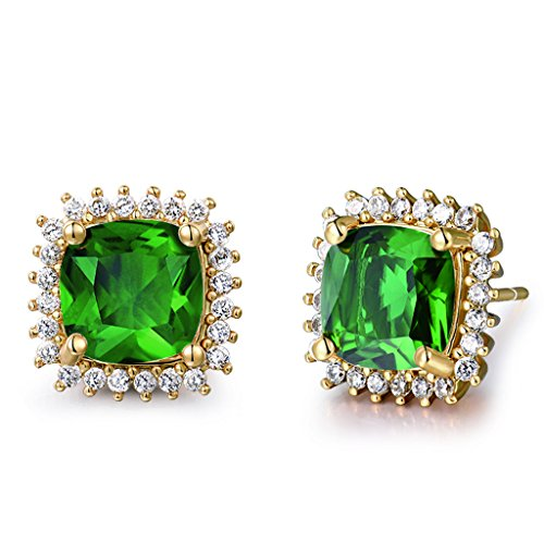 GULICX Yellow Gold Tone Dashing Emerald Color Green CZ Rhinestone Stud Cuff Earrrings for Lady