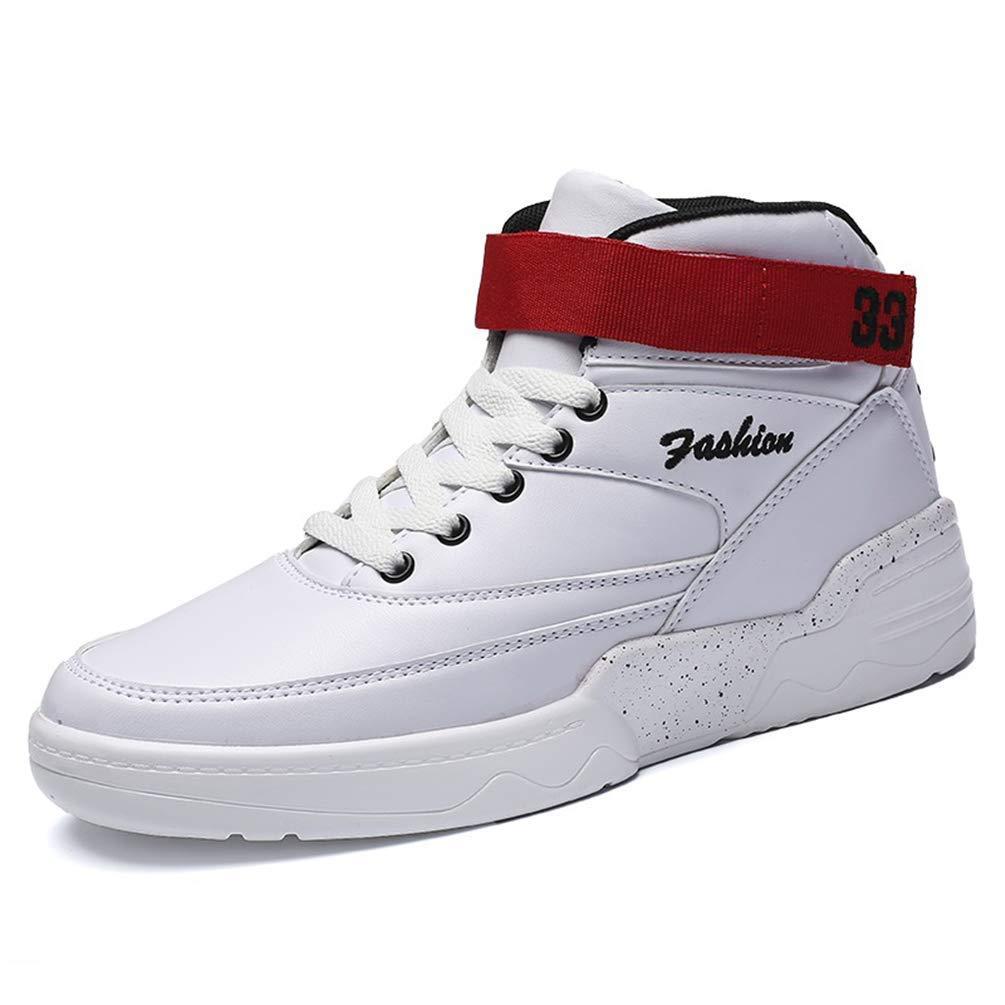 HhGold Männer Basketball-Schuhe Athletic Outdoor Basket Turnschuhe Knöchel Sportschuhe (Farbe   Weiß, Größe   8=42 EU)