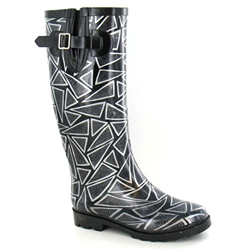 Spot Op Womens / Dames Triangle Pattern Rubberen Wellington Boots Wit / Zwart