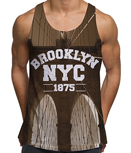 fan products of Bang Tidy Clothing Sleeveless Brooklyn Bridge NYC Manhattan United States Mens Vest - White - XL