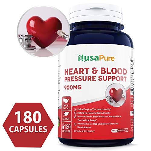 Best Heart & Blood Pressure Support 180 caps (Non-GMO & Gluten Free) Promotes Heart Health and Stimulates Healthy Circulation with Hawthorn, Suma, Motherwort, Cayenne - 100% Money Back Guarantee! ()
