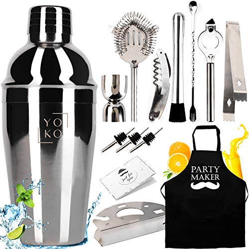 Professional Cocktail Making Set With Stand & Apron & Personalized Card | 14 Pcs | 550 ml Stainless Steel Shaker | Exclusive Gift | Drink Recipe Book Mohito, Martini, Margarita | Shaker Cocktail Set