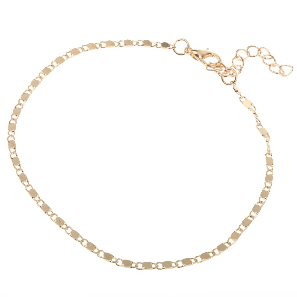 MonkeyJack Women's Simple Anklet Gold Plated Alloy Ankle Chain Bracelet Beach Jewelry