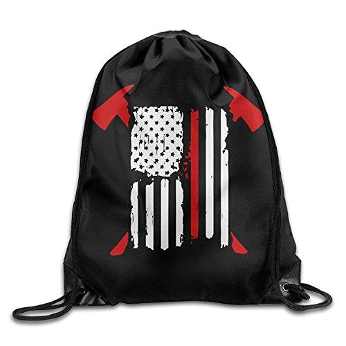 Firefighter Red Line American Flag Drawstring Backpack Bag Beam Mouth Gym Sack Shoulder Bags For Men & Women