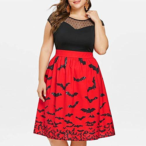 ThsiJJ Women Halloween Bat Printed Dress Plus Size Retro Lace Hollow Sleeveless Dresses Vintage Party Swing Red Dresses ()
