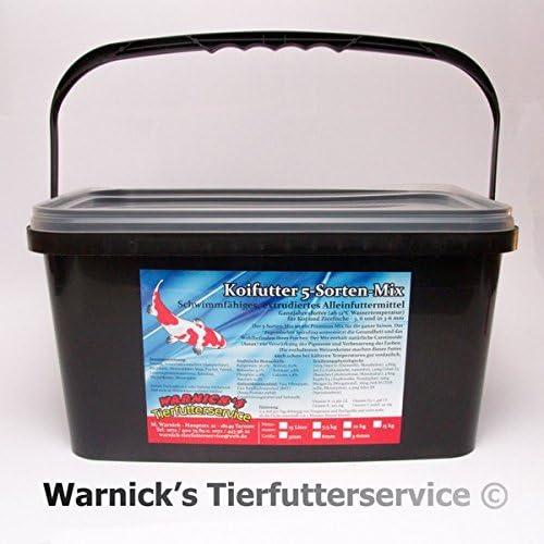 Warnicks Tierfutterservice Koifutter 6mm Spezialfutter 5-Sorten-Mix 5Liter im praktischen Eimer!