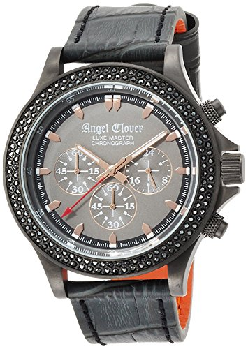 Angel Clover watch luxe master gray dial Chronograph Swarovski LM46GMZ-GR Men's
