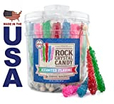 36 Rock Crystal Candy Sticks in a Tub by Color- Assorted Red, Pink, Blue & Green