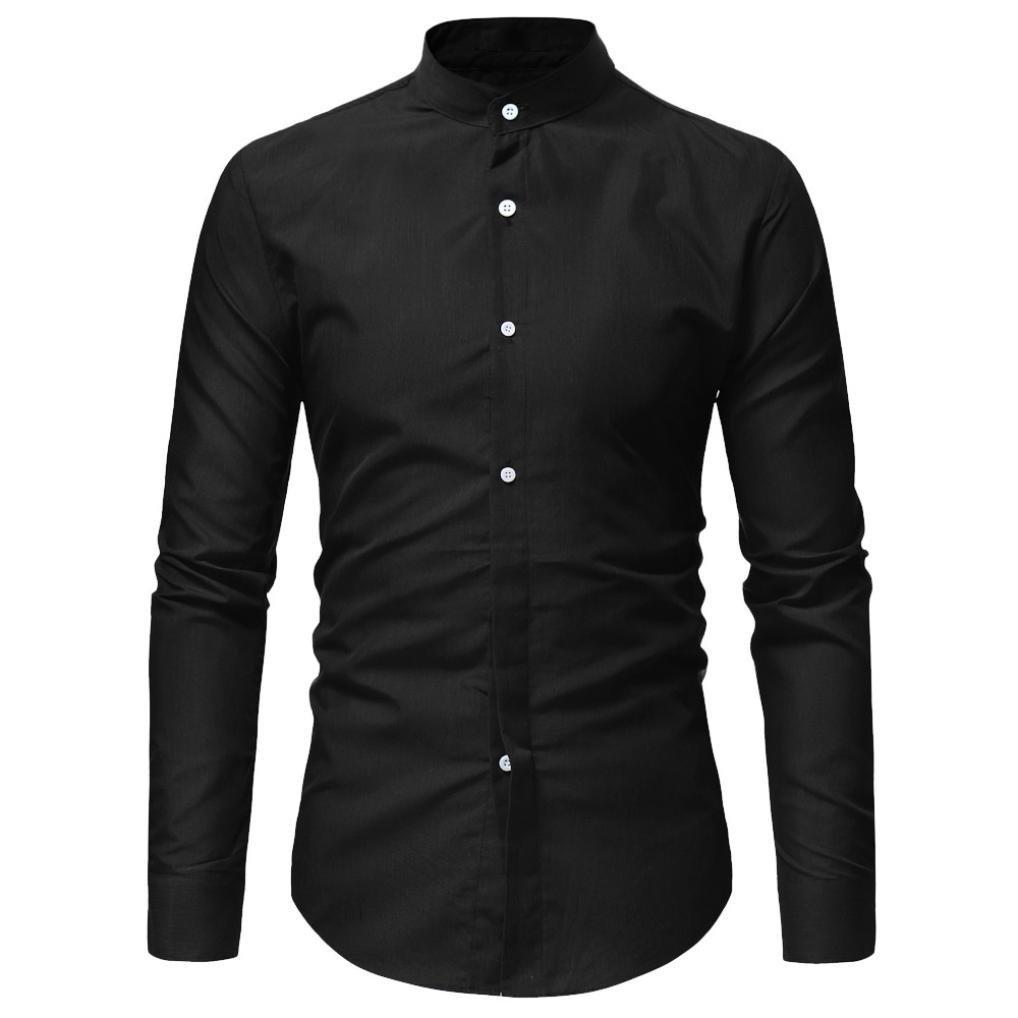 AmyDong Men Casual Shirt Long Sleeve Business Slim Dress Shirt T Shirt Top Two Pairs of Personalized Double-Shirt (XL, Black A)