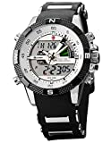 SHARK Men's Sport Wrist Watch Dual Time/ LCD/ Alarm/ Chronograph White Dial SH041