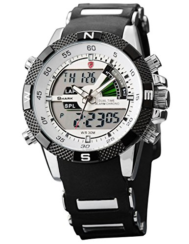 Shark Men's Sport Wrist Watch Dual Time/LCD/Alarm/Chronograph White Dial (Dual Time Chronograph)