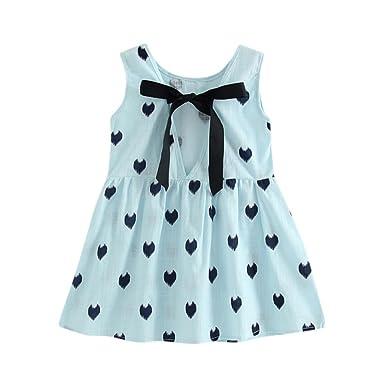 aaeea3c78c34d Kobay Baby Girls Summer Polka Dot Princess Dress Party Sleeveless Bowknot  Dresses: Amazon.co.uk: Clothing
