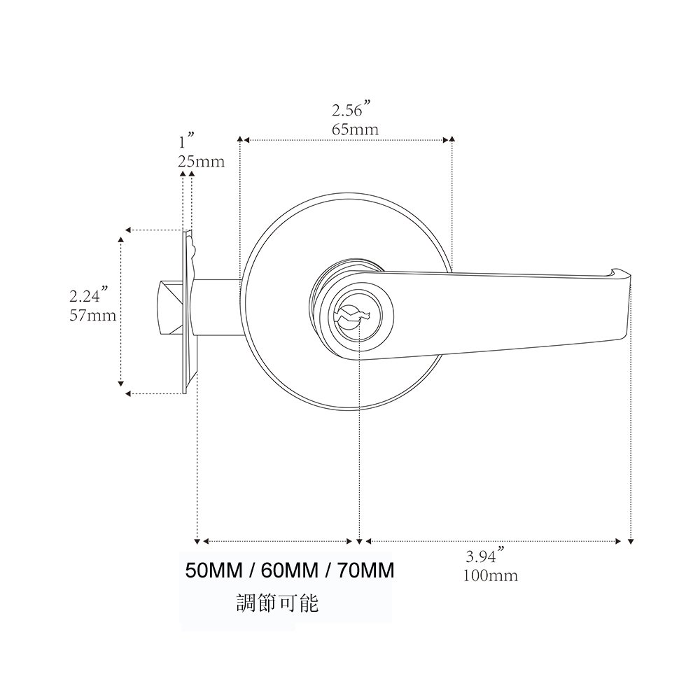 Passage for Use of Entry and Bathroom802-K Key HAIFUAN Door Lever Handle Lock