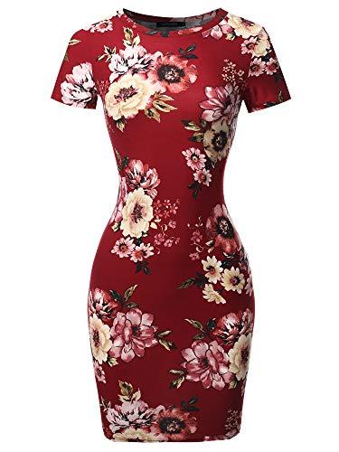 Casucal Printed Sexy Body-con Mini Dress - Made in USA Burgundy Mauve S