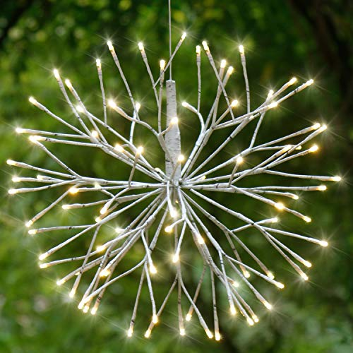 EAMBRITE 18 Inch Led White Birch Wrapped Lighted Twig Stake Starburst with 90LT Warm White LED Bulbs for Outdoor and Indoor use]()