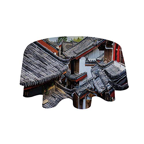 - YOLIYANA Ancient China Decorations Waterproof Round Tablecloth,Roofs of Houses Ancient Chinese Tiles Scenic View Touristic Town Decorative for Living Room,62.9
