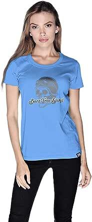 Creo Bikers Born Free Spirit T-Shirt For Women - M