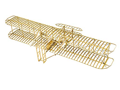 Balsa Wood Airplane Kits- Wright Brothers Flyer DIY Wooden Models Plane Construction Set, Laser Cut Aircraft Model Kit 3D Puzzles for Adults, Perfect Brain Teaser Jigsaw Puzzle for Home Decor ()