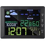 デジタル湿度計 温度計 Fosaワイヤレスカラースクリーンディスプレイ天気時計温度、湿度計 音声制御時計 LCD大画面 温湿度計 (ブラック)