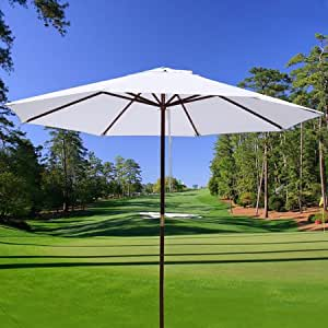 White 10ft Outdoor Patio Umbrella Made of Wood