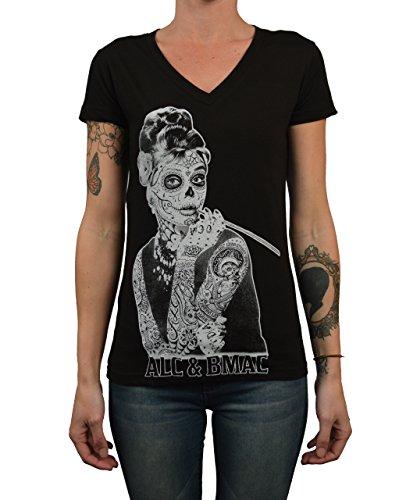 Women's Aubrey by Jarad Bryant T-Shirt Mexican Sugar Skull Face Mask Tattoo (Tattoo Skull Face)